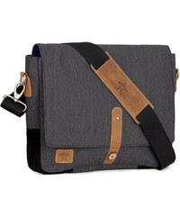 FAGUO Grau melierte Messenger Bag aus Flanell und Baumwolle