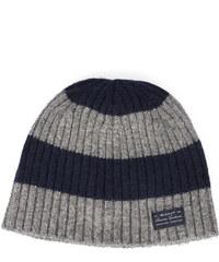 GANT Grau-blau gestreifte gerippte Wollmütze