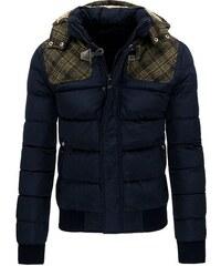 Modrá zimní pánská bunda s vystuženými rameny
