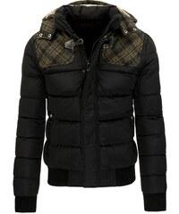 Černá zimní pánská bunda s vystuženými rameny