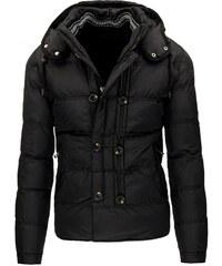 Černá pánská zimní bunda s dvěma řadami knoflíků