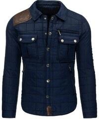 Pevná prošívaná pánská zimní bunda modrá