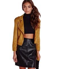 MISSGUIDED Hořčicově žlutá semnišová bunda