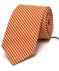 Klukovna Oranžová kravata s bílými proužky