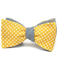 Klukovna Oboustranný motýlek - Žlutý s bílými puntíky, Šedý