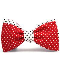 Klukovna Oboustranný motýlek - Červený s puntíky, Bílý s puntíky