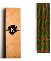 Kavalier's Tmavě zelená pletená kravata s hnědými proužky