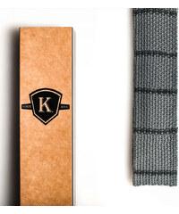 Kavalier's Šedá pletená kravata s tmavě šedými proužky