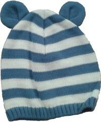 Broel Chlapecká pruhovaná čepice s oušky - modro-bílá