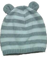 Broel Chlapecká pruhovaná čepice s oušky - šedo-bílá