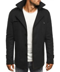 Moderní černý hřejivý pánský kabát J. STYLE 3127