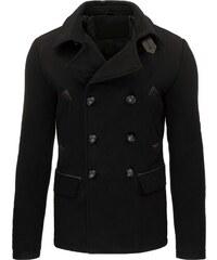 Moderní černý pánský kabát dvojřadé zapínání