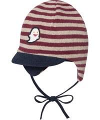 Broel Dětská proužkovaná čepice s kšiltem - hnědá