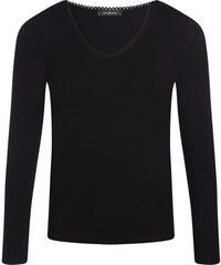T-shirt maille côtelée dentelle Noir Viscose - Femme Taille 0 - Cache Cache