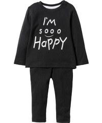 bpc bonprix collection T-shirt bébé à manches longues + pantalon (Ens. 2 pces.) coton bio noir enfant - bonprix