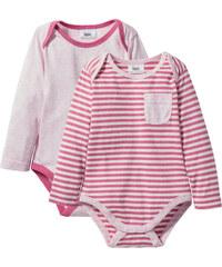 bpc bonprix collection Lot de 2 bodies à manches longues en coton bio rose enfant - bonprix