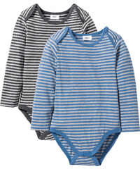 bpc bonprix collection Lot de 2 bodies à manches longues en coton bio gris enfant - bonprix