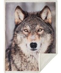 Home Linen Plaid imprimé Loup - 150x200 cm - 100% polyester - 1 face microfibre + 1 face Sherpa