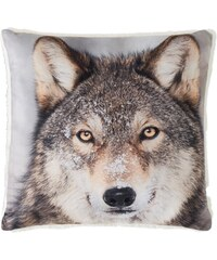 Home Linen Coussin imprimé Loup - env. 50x50 cm - 100% polyester - 1 face microfibre + 1 face Sherpa