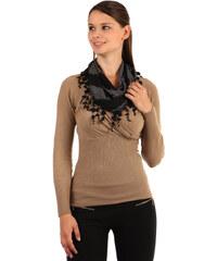 TopMode Dvoubarevný šátek s třásněmi černá