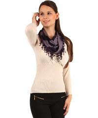 TopMode Dvoubarevný šátek s třásněmi tmavě fialová