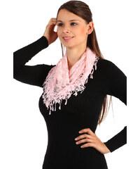 TopMode Krajkový šátek s třásněmi růžová