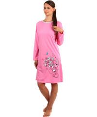 YooY Dlouhá noční košilka s medvídkem růžová