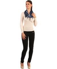 YooY Dvoubarevný šátek s třásněmi modrá