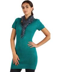 YooY Krajkový šátek s třásněmi tmavě modrá