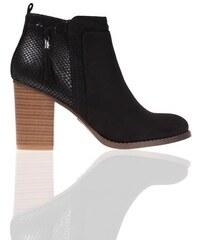 Boots à talon bi-matières Noir Synthetique (polyurethane) - Femme Taille 36 - Cache Cache