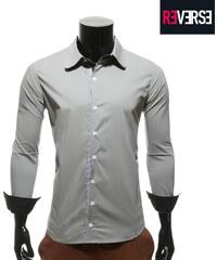 Re-Verse Hemd mit feinkarierter Knopfleiste - S