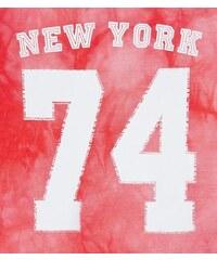 """New Look Teenager – Kurz geschnittenes, oranges Batik-Oberteil mit und """"New York 74""""-Aufdruck"""