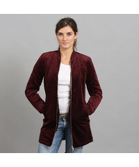 Urban Classics Ladies Long Velvet Jacket vínová