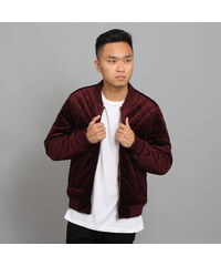 Urban Classics Diamond Quilt Velvet Jacket vínová