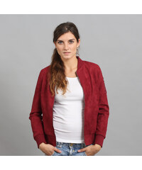 Urban Classics Ladies Imitation Suede Bomber Jacket vínová