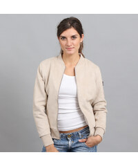 Urban Classics Ladies Imitation Suede Bomber Jacket krémová