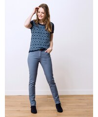Jeans Femme Coton/élasthanne Garment Dyed Slim Somewhere, Couleur Faience