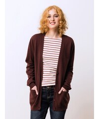 Long Gilet Femme Laine Et Yack Somewhere, Couleur Bordeaux