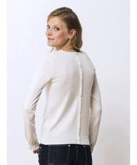 Pull Femme Coton/soie/cachemire Boutonné Dos Somewhere, Couleur Blanc Casse