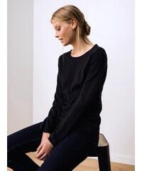 Pull Femme Coton / Soie / Cachemire Détail Plumetis Somewhere, Couleur Noir