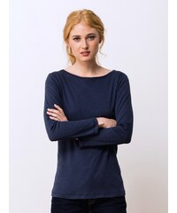 T-shirt Femme Coton/cachemire Manches 7/8ème Somewhere, Couleur Indigo