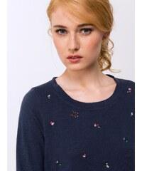 T-shirt Femme Coton Flammé Fantaisie Broderies Somewhere, Couleur Indigo