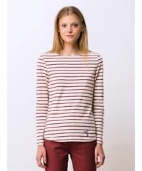 T-shirt Femme Coton Bio* Encolure Bateau Somewhere, Couleur Blanc Casse / Marsala