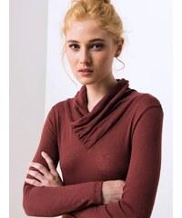 T-shirt Femme Coton / Cachemire Col Montant Drapé Somewhere, Couleur Grenat