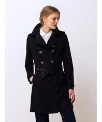 Trench Femme Coton Déperlant Somewhere, Couleur Noir