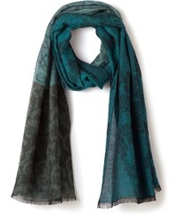 Etole Femme Jacquard Girafe Coton/laine Somewhere, Couleur Vert Paon