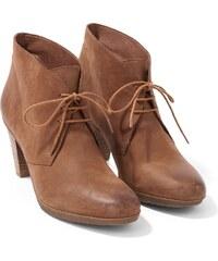 Low Boots Femme Cuir À Lacets Talon Haut Somewhere, Couleur Cognac
