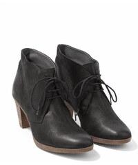 Low Boots Femme Cuir À Lacets Talon Haut Somewhere, Couleur Noir