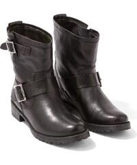 Boots Motardes Femme Cuir Lisse Somewhere, Couleur Noir