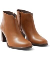 Low Boots Femme Cuir Lisse Talon Haut Somewhere, Couleur Chocolat